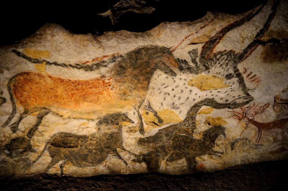 Prehistoric paintings at the replica of Lascaux caves in Montignac, South-Western France