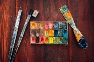 Akwarele farby i pdzle
